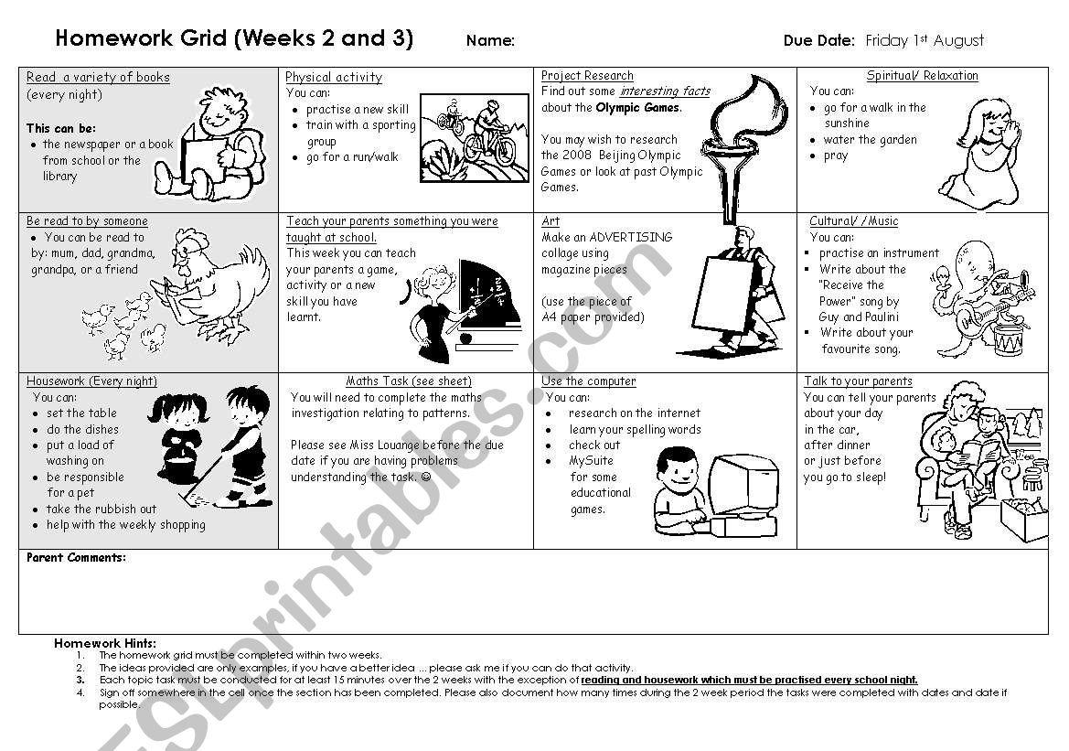 Homework Grid 1