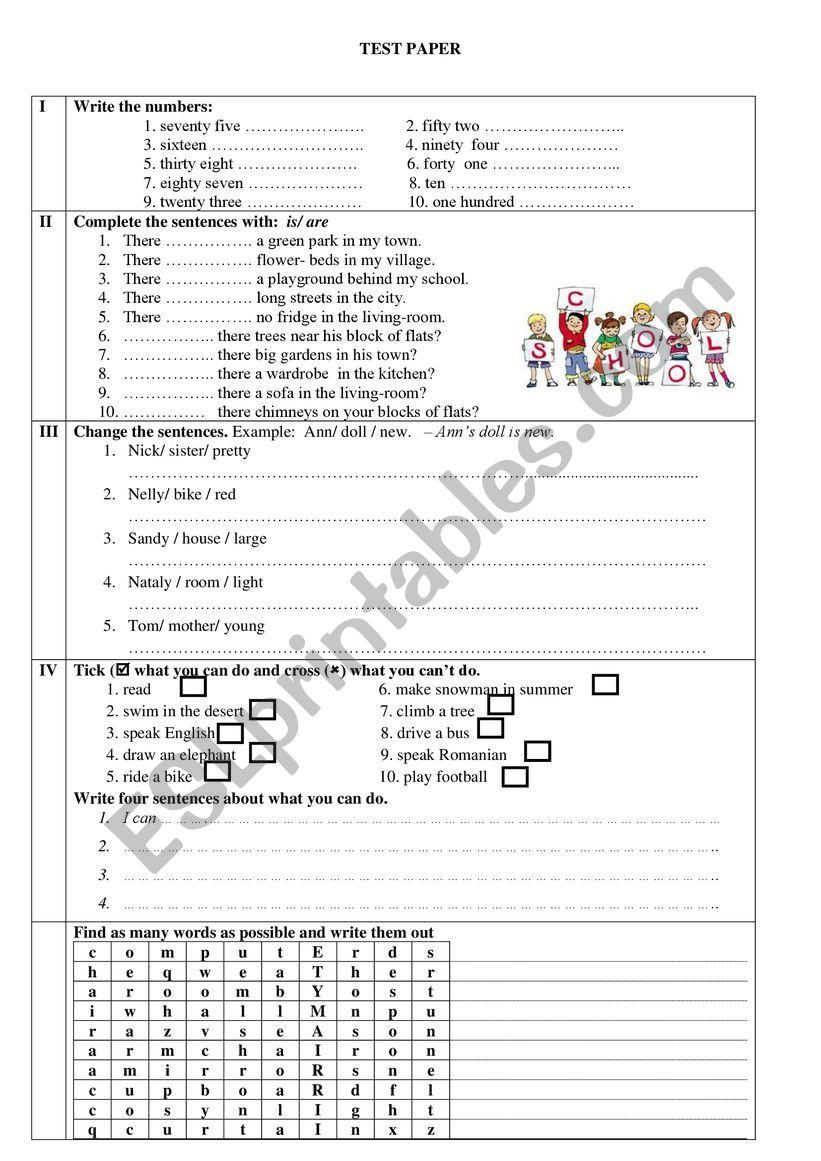 medium resolution of test 3rd grade - ESL worksheet by gabriela23