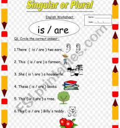 singular and plural for 1st and 2nd grade the use of is and are - ESL  worksheet by lolo1 [ 1062 x 821 Pixel ]