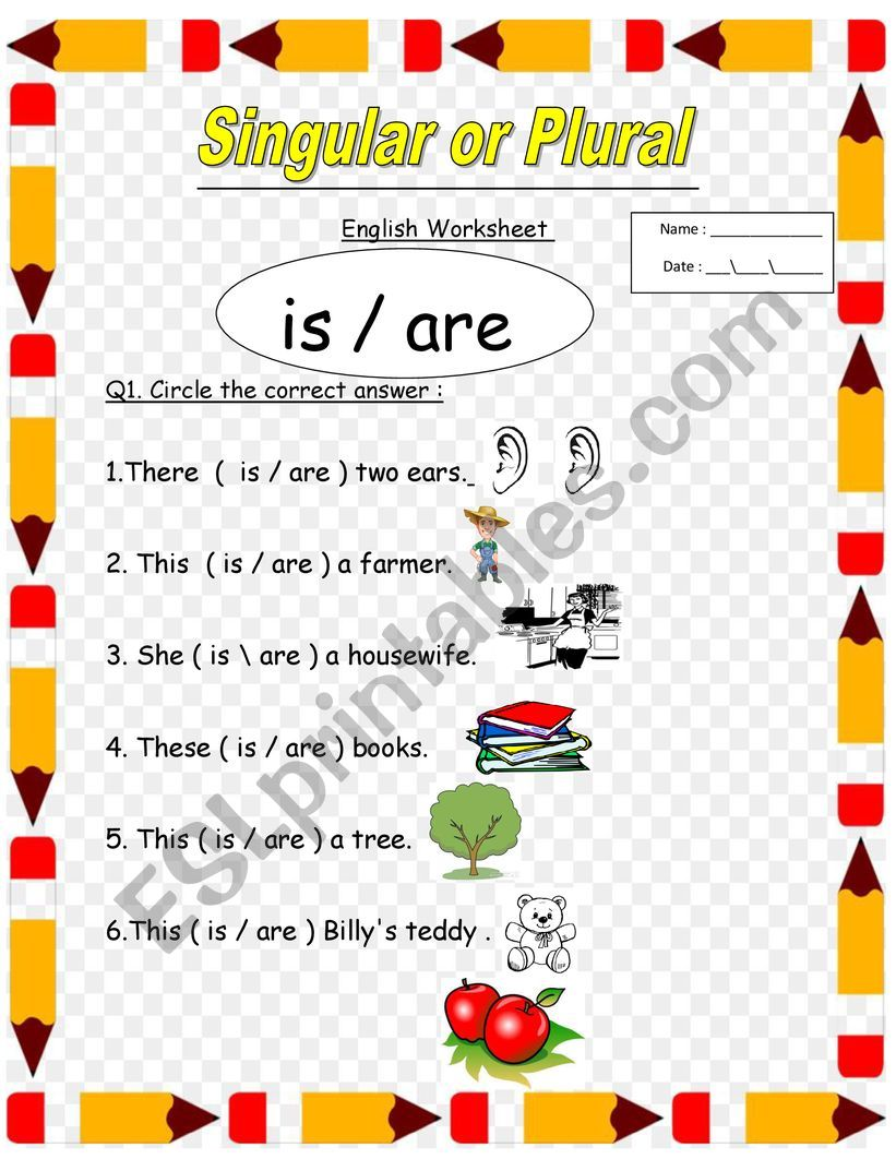hight resolution of singular and plural for 1st and 2nd grade the use of is and are - ESL  worksheet by lolo1