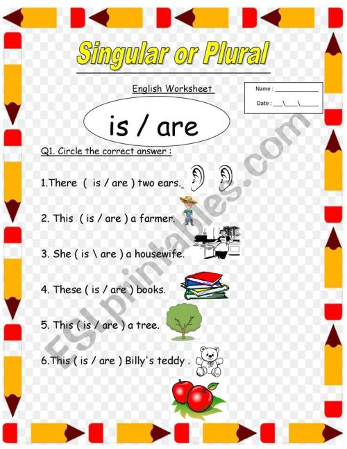 small resolution of singular and plural for 1st and 2nd grade the use of is and are - ESL  worksheet by lolo1
