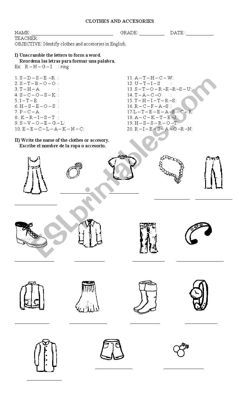 hight resolution of clothes and accesories - ESL worksheet by linkka