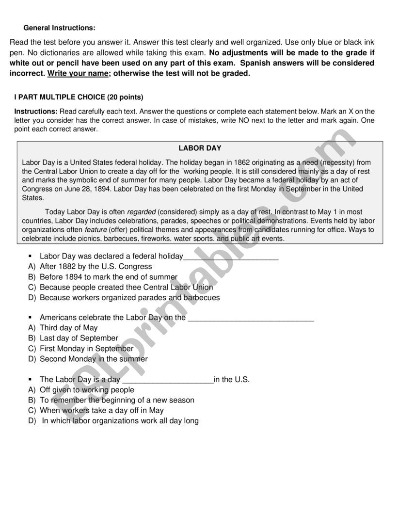 medium resolution of Holidays and celbrations - ESL worksheet by Rake07