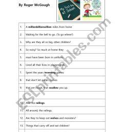 Poem Worksheet: First Day At School by Roger McGough - ESL worksheet by  lisagyokery [ 1161 x 821 Pixel ]