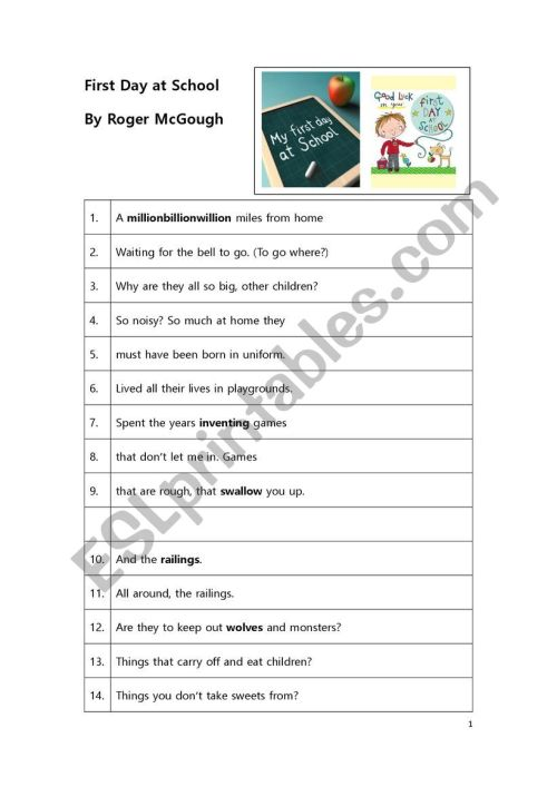 small resolution of Poem Worksheet: First Day At School by Roger McGough - ESL worksheet by  lisagyokery