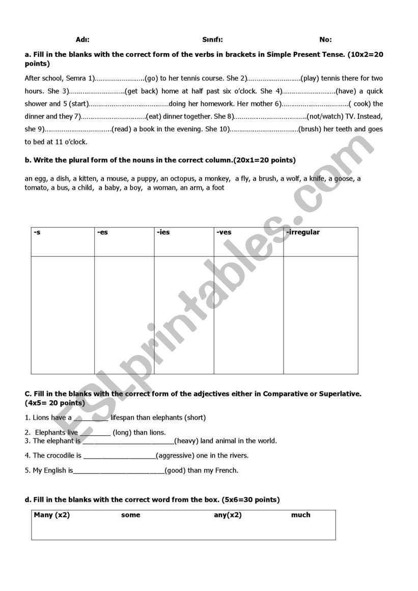 hight resolution of revision test for 9th grade- 2 - ESL worksheet by ggonca