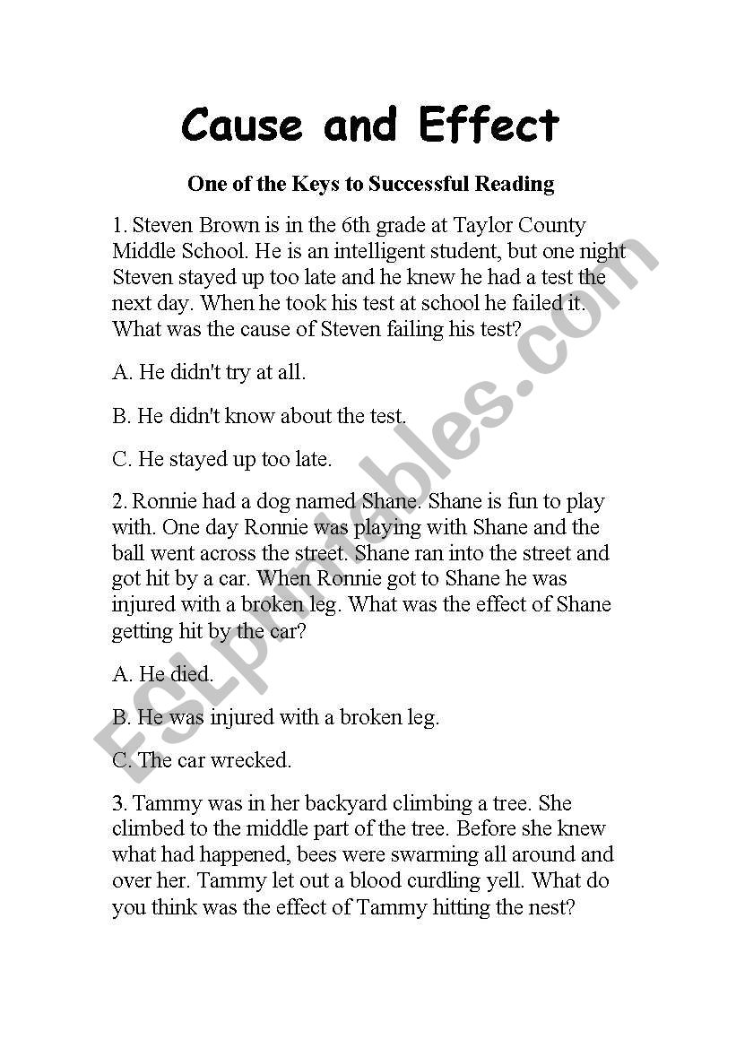 hight resolution of English worksheets: Cause and Effect