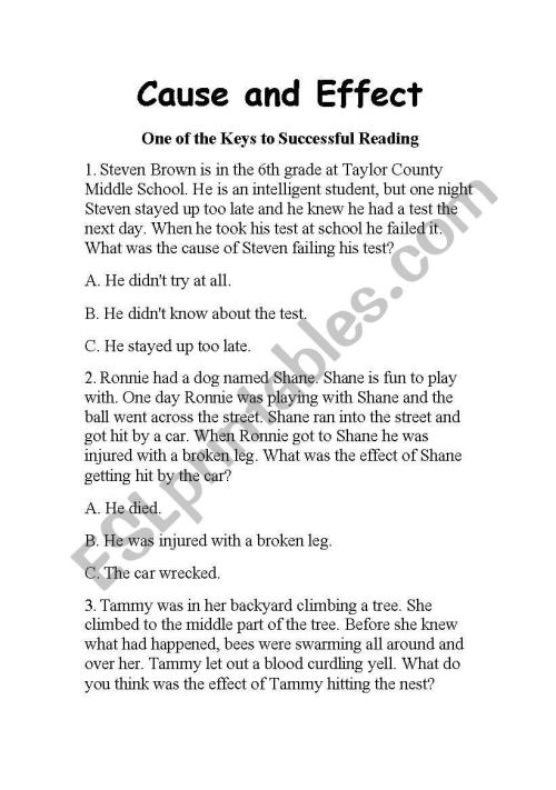 small resolution of English worksheets: Cause and Effect