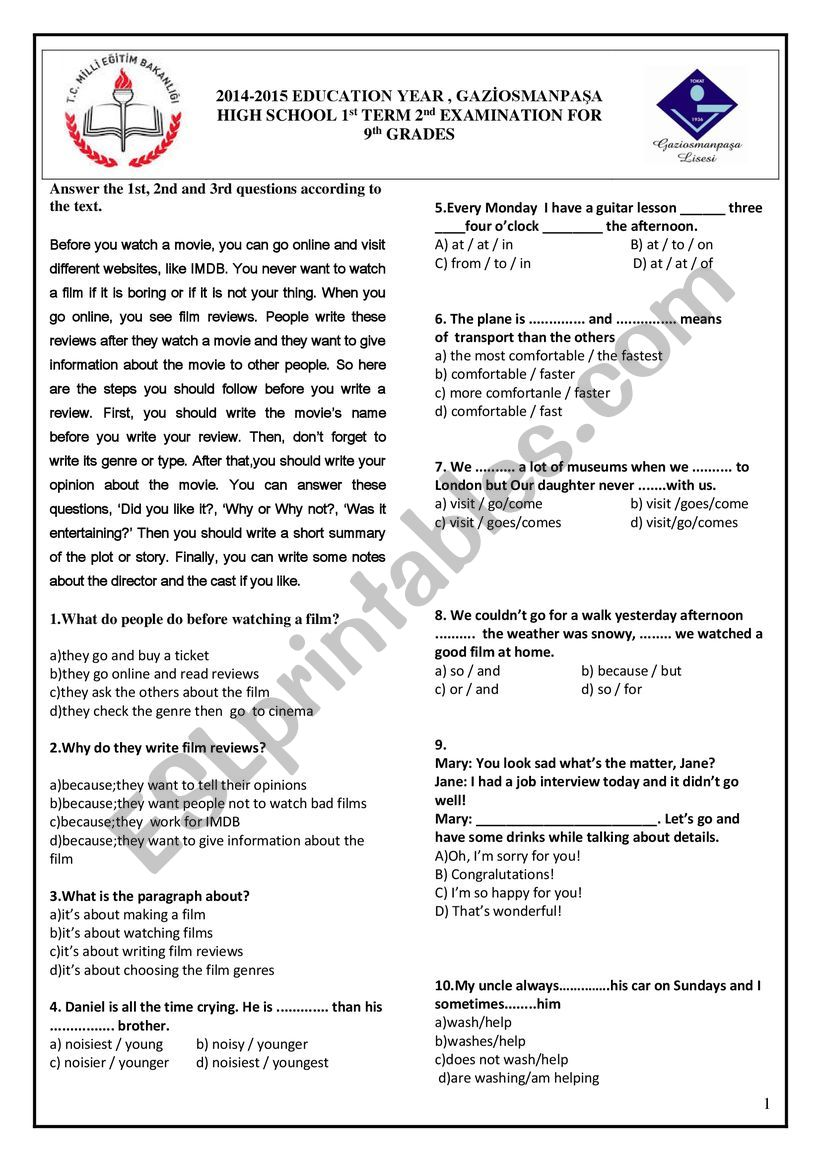 medium resolution of 14/15 GRADE 9 1st TERM 2nd TEST - ESL worksheet by gkhndmrc