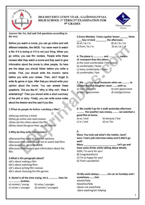 small resolution of 14/15 GRADE 9 1st TERM 2nd TEST - ESL worksheet by gkhndmrc