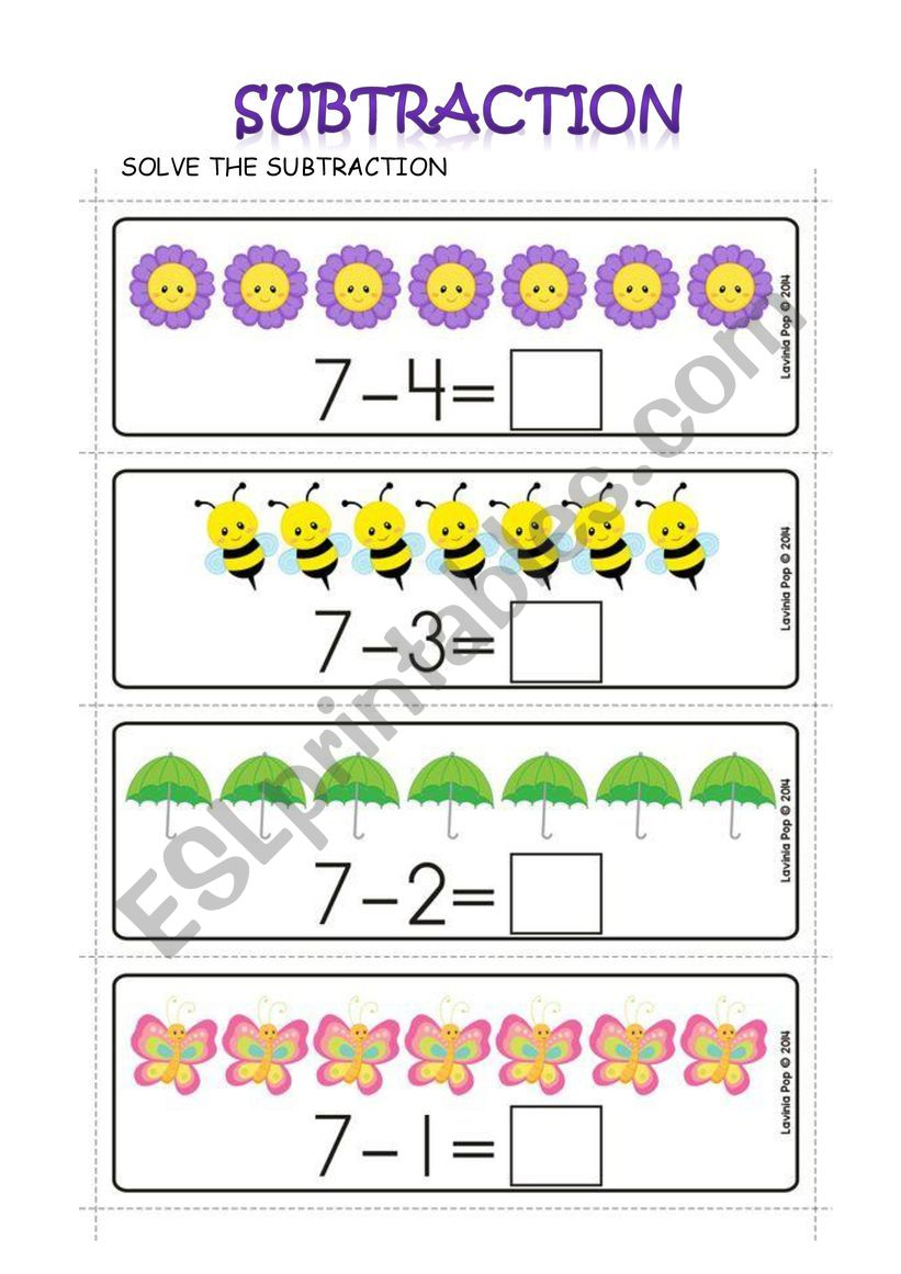 hight resolution of SUBTRACTION - ESL worksheet by Carol Ximena