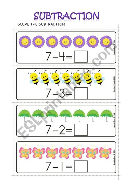 small resolution of SUBTRACTION - ESL worksheet by Carol Ximena