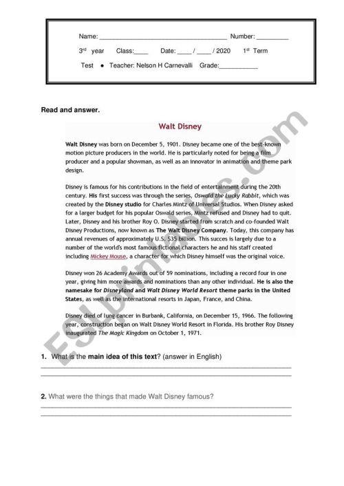 small resolution of Test High school 3rd grade - ESL worksheet by Ncarnevalli