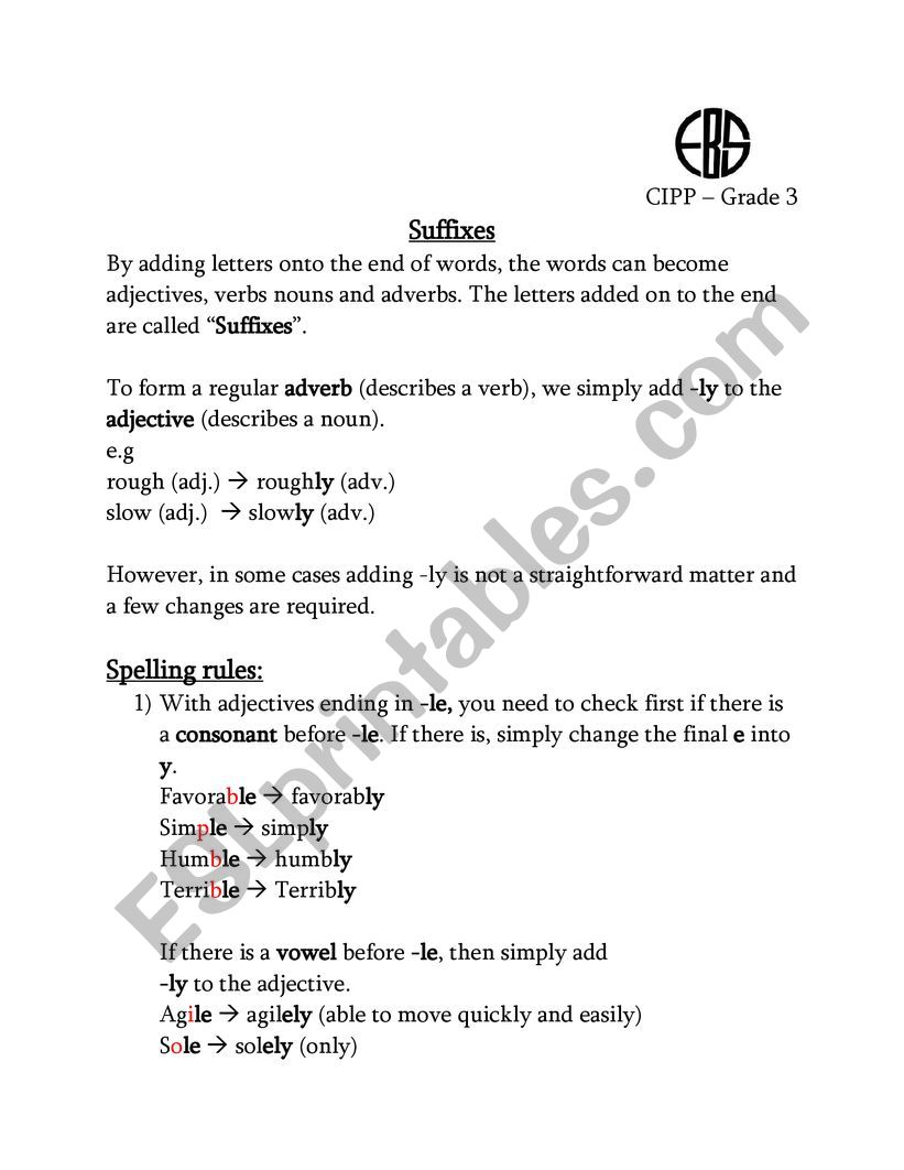 hight resolution of Suffix ly - ESL worksheet by nohaahmed