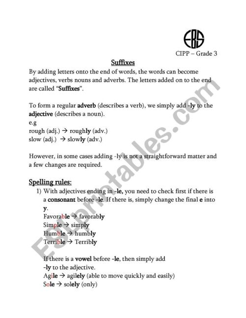 small resolution of Suffix ly - ESL worksheet by nohaahmed