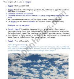 TYPES OF CLOUDS - ESL worksheet by sussman88 [ 1161 x 821 Pixel ]