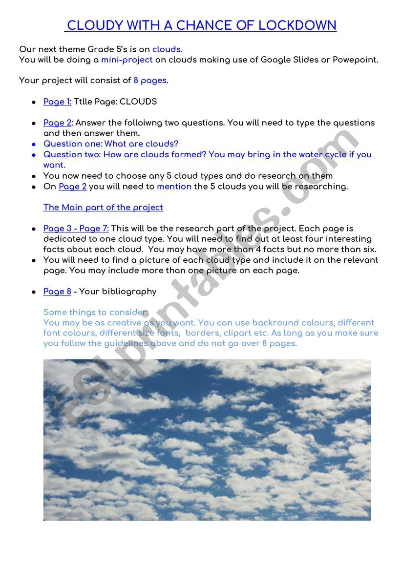 hight resolution of TYPES OF CLOUDS - ESL worksheet by sussman88