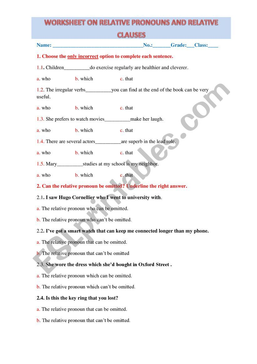 hight resolution of Worksheet on Relative Pronouns and Relative Clauses - ESL worksheet by  dafodil