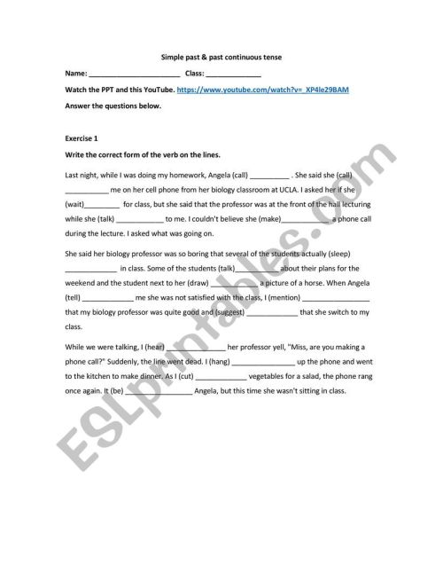 small resolution of Simple past and past continuous worksheet - grade 6 - ESL worksheet by  plmokn1212