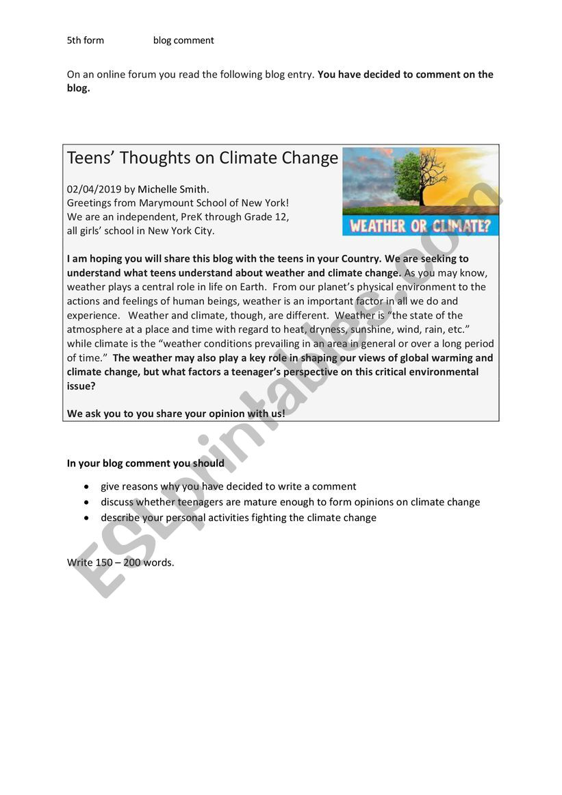 medium resolution of Write a blog comment (climate change) - ESL worksheet by fless