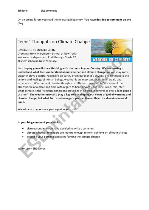 small resolution of Write a blog comment (climate change) - ESL worksheet by fless