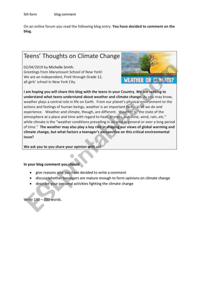 Write a blog comment (climate change) - ESL worksheet by fless
