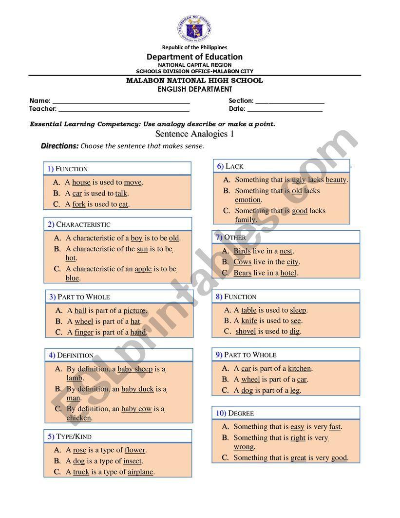 hight resolution of Analogy Worksheet - ESL worksheet by gabispogi17