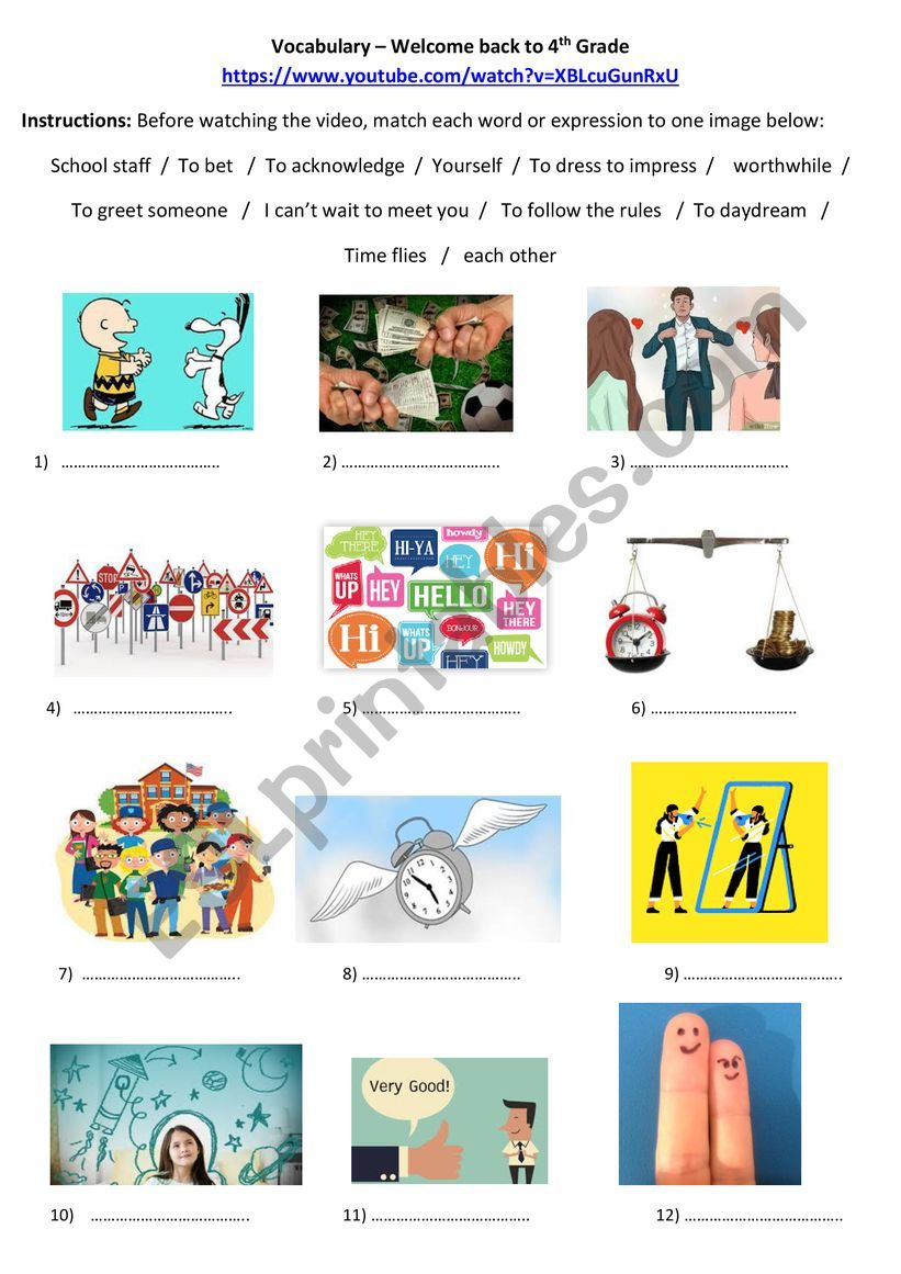 hight resolution of Welcome Back to 4th Grade Vocabulary - ESL worksheet by spothier