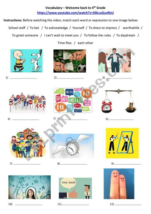 small resolution of Welcome Back to 4th Grade Vocabulary - ESL worksheet by spothier
