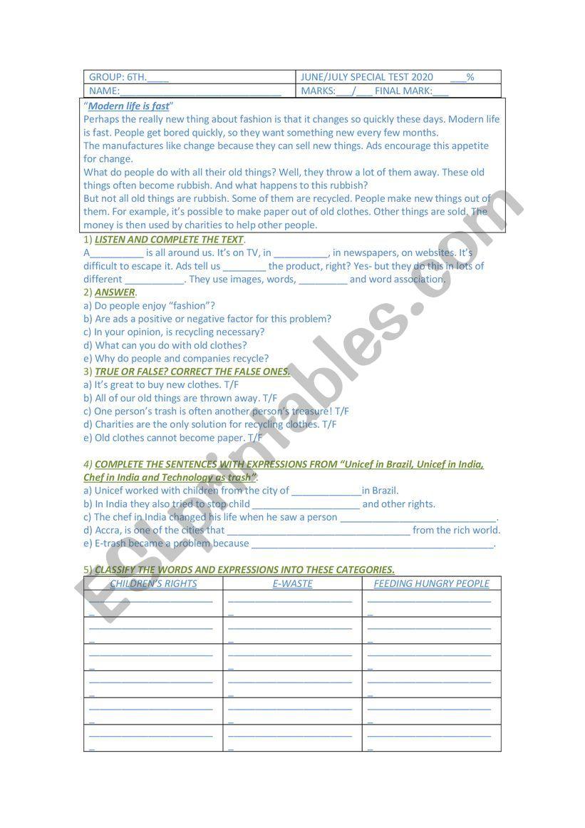 medium resolution of Mid Term test for 6th grade secondary school - ESL worksheet by Gabbylan4