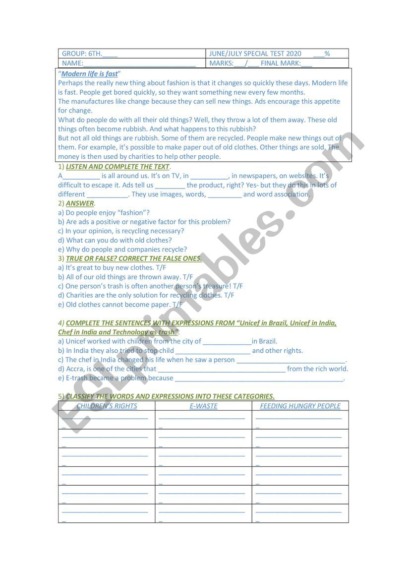 hight resolution of Mid Term test for 6th grade secondary school - ESL worksheet by Gabbylan4