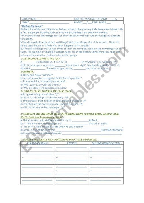 small resolution of Mid Term test for 6th grade secondary school - ESL worksheet by Gabbylan4