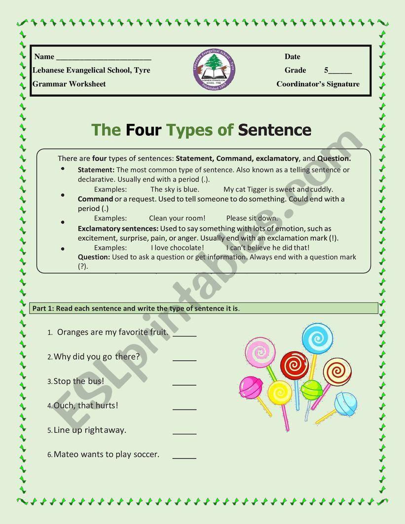 medium resolution of Types of sentences - ESL worksheet by alisso