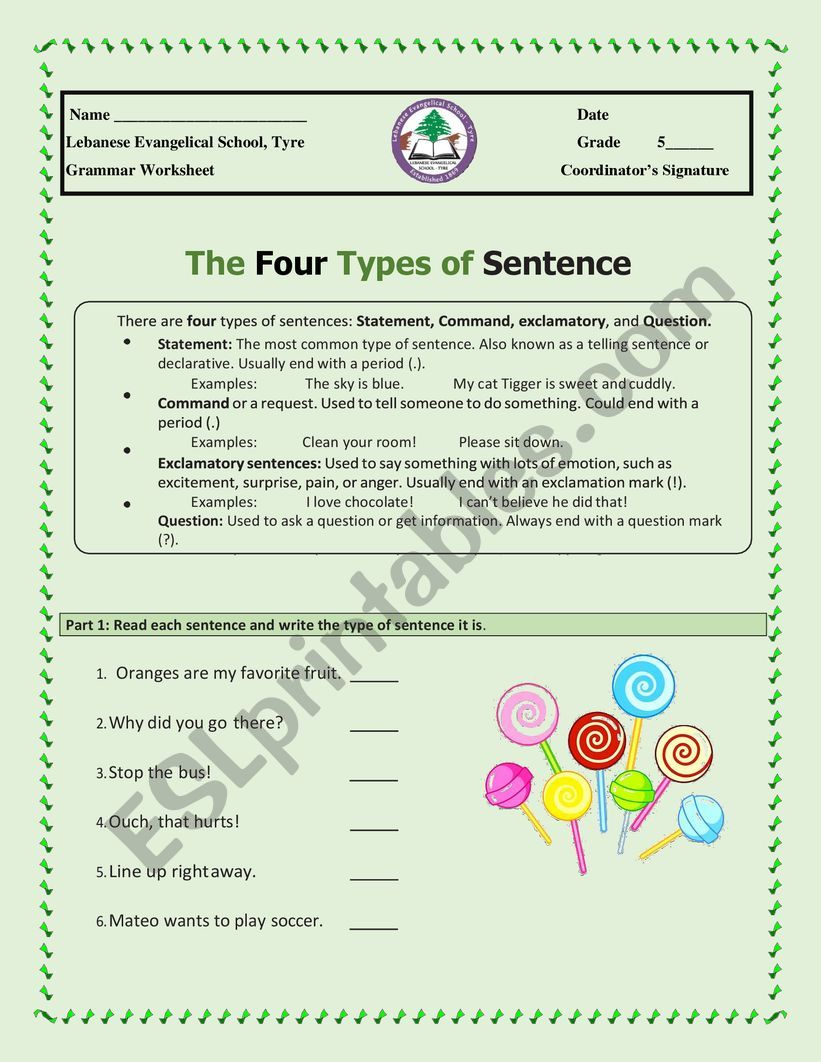 hight resolution of Types of sentences - ESL worksheet by alisso