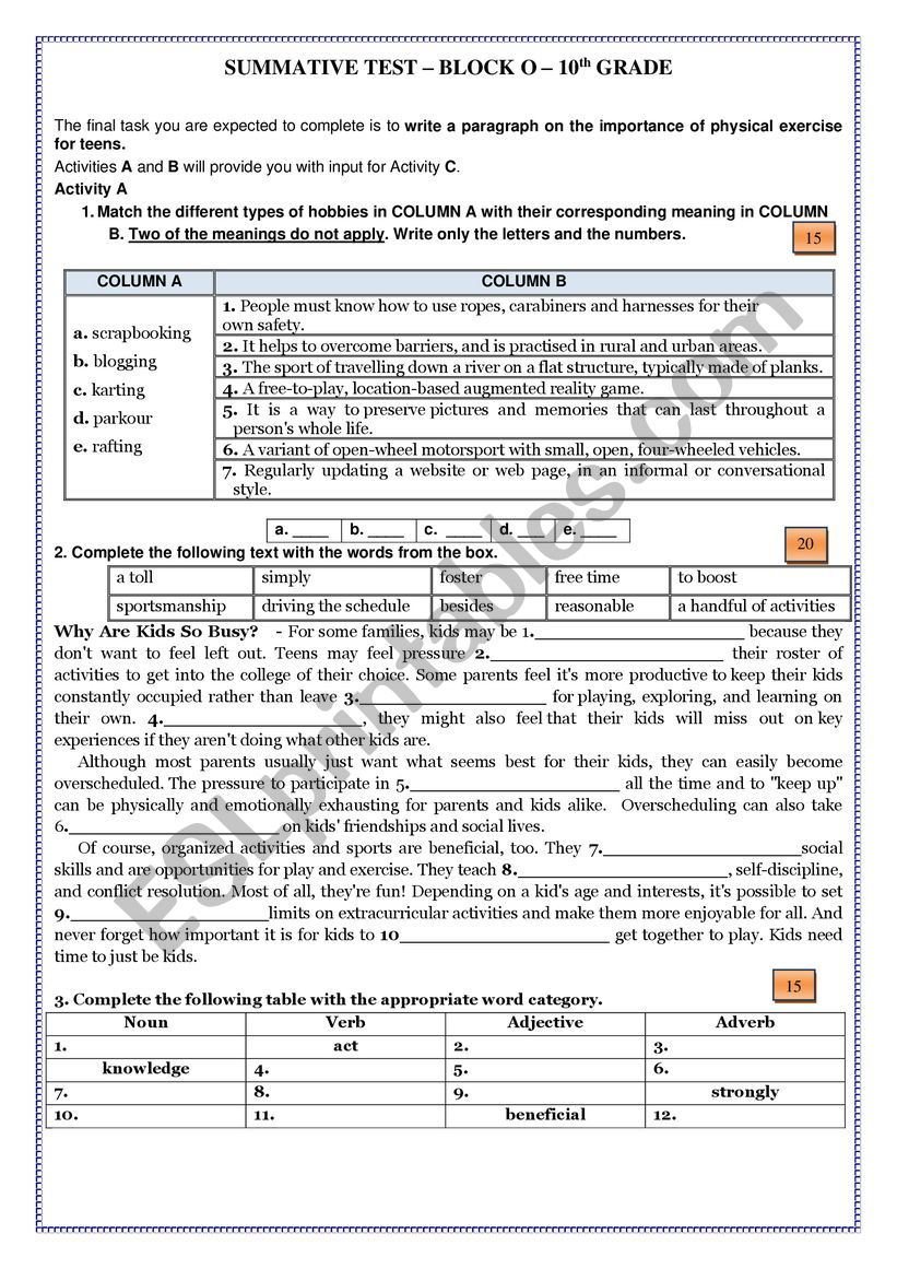 medium resolution of Summative Test on Block 0 - 10th Grade - Getting Started - ESL worksheet by  fatilebre