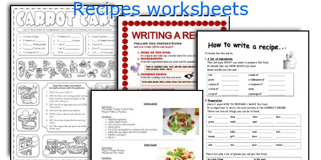 recipes worksheets and activities for teaching to