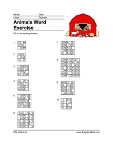 ESL Printable Animal vocabulary worksheets