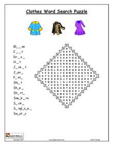 Clothes, English vocabulary, printable Clothes, Dressing