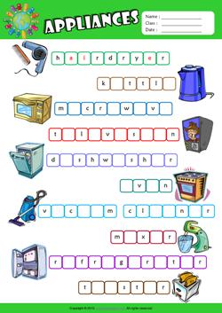 Appliances ESL Printable Worksheets For Kids 2