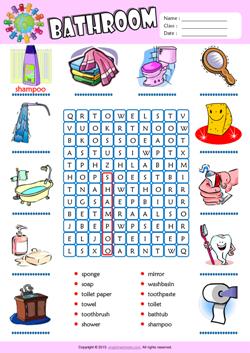 Bathroom Esl Printable Worksheets For Kids 1