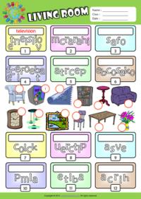 Living Room ESL Printable Worksheets For Kids 2