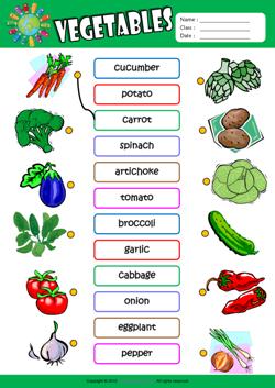 Vegetables ESL Printable Worksheets For Kids 1