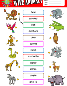 Wild animals esl matching exercise worksheet for kids also printable worksheets rh eslways