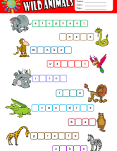 Wild animals missing letters in words esl vocabulary worksheet also printable worksheets for kids rh eslways
