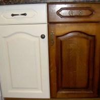 Después/Antes de la esmaltación de una puerta cocina