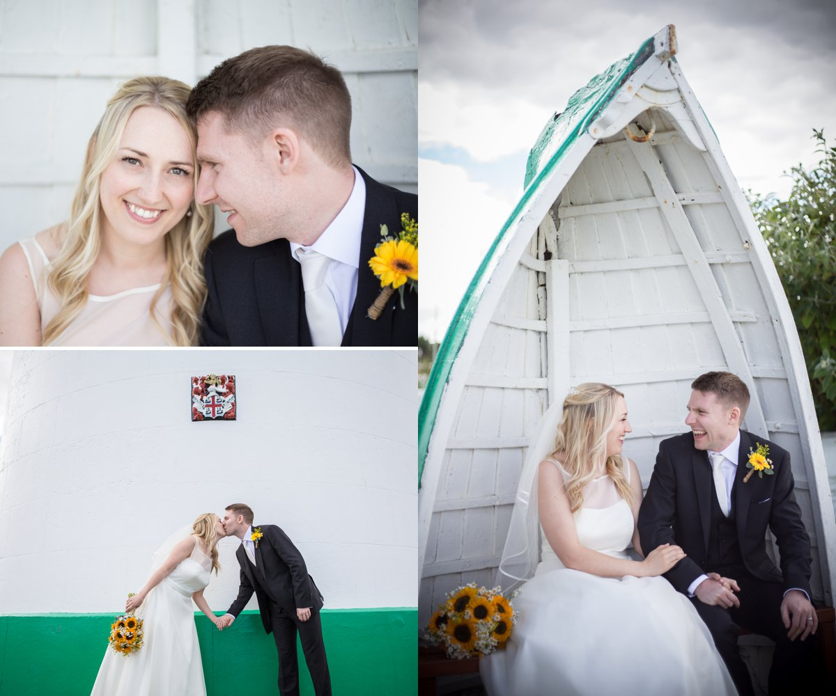 bride and groom in boat seat coastal sunflower wedding