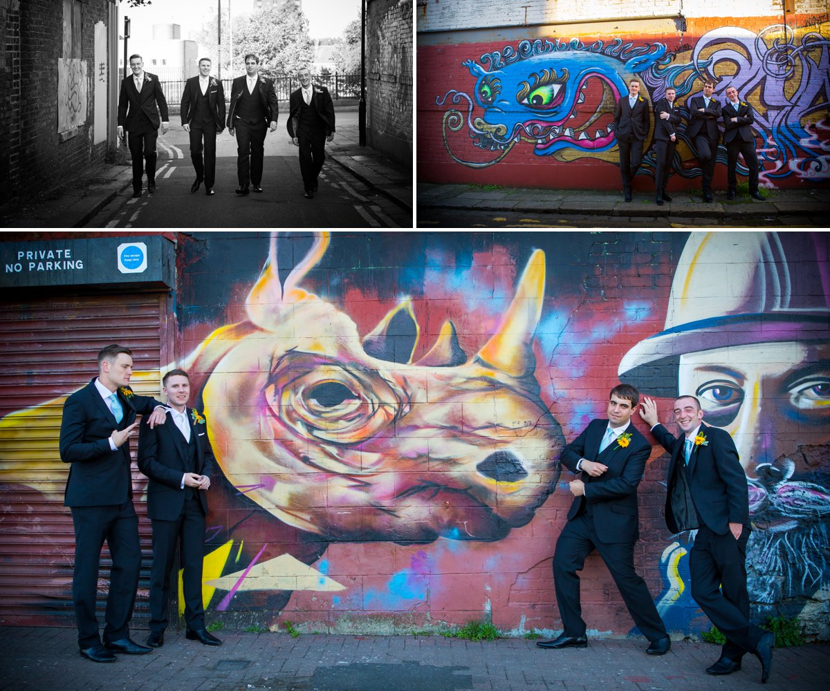 groom and groomsmen graffiti wall quirky funny