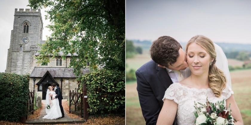bride and groom church portrait rustic diy wedding