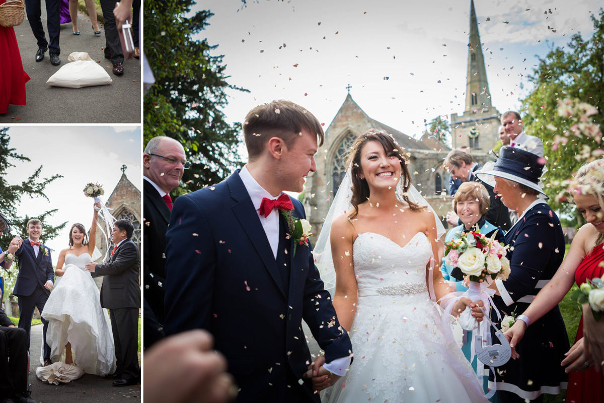 Confetti outside Chaddesley Corbett Church
