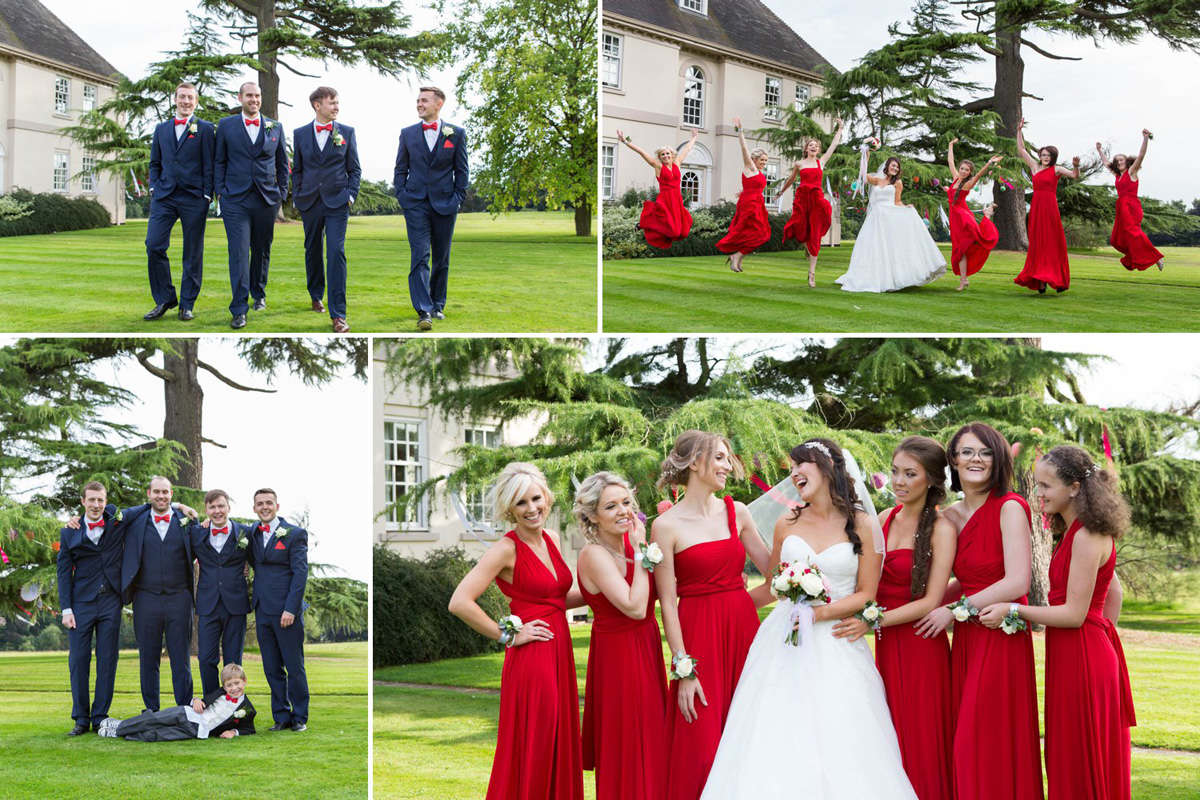 bridesmaids and groomsmen wearing red and blue theme